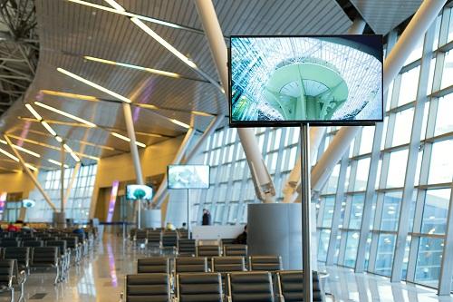 un écran d'informations pour salle d'attente.